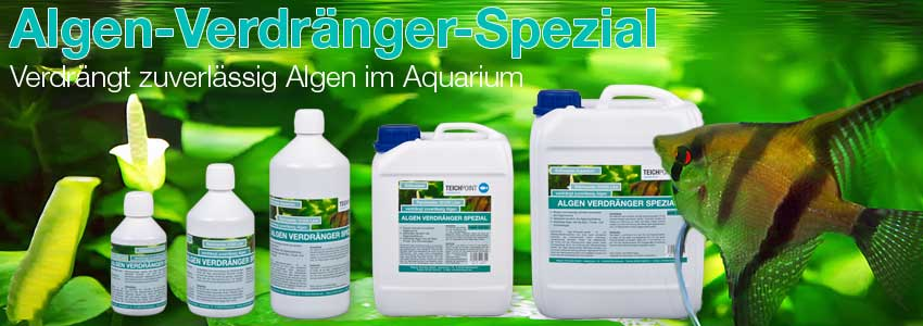 die fünf Gebinde Größen des Mittels Algenverdränger Spezial von Teichpoint