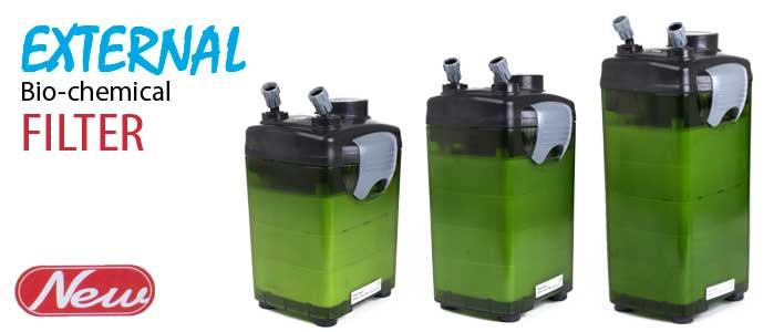 drei modelle der Jebo aquarium aussenfilter mit grünem gehäuse