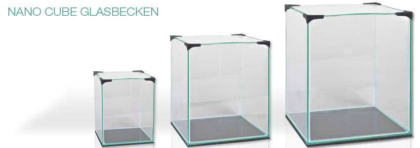 3 Größen der Nano Cube Glasaquarien 10, 20 und 30 Liter