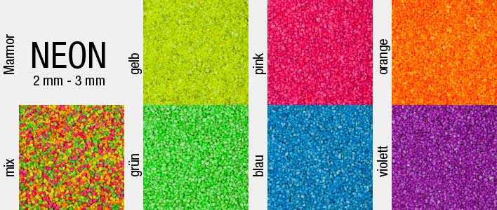6 verschiedene neon farben und ein mix stehen zur auswahl