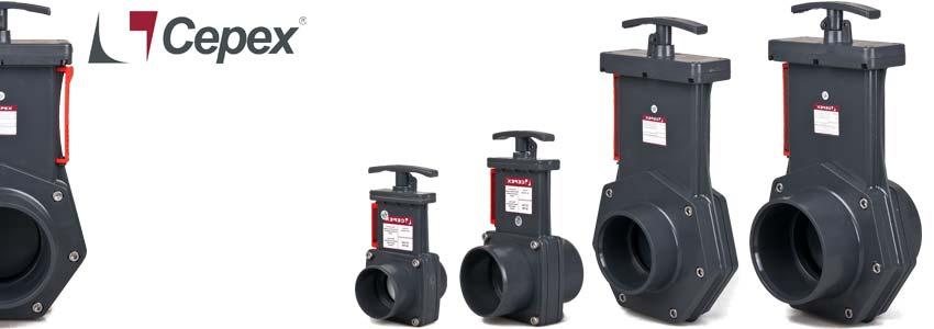 4 modelle der cepex pvc zugschieber serie für teich und gartenbau 50, 63, 90 und 110 mm
