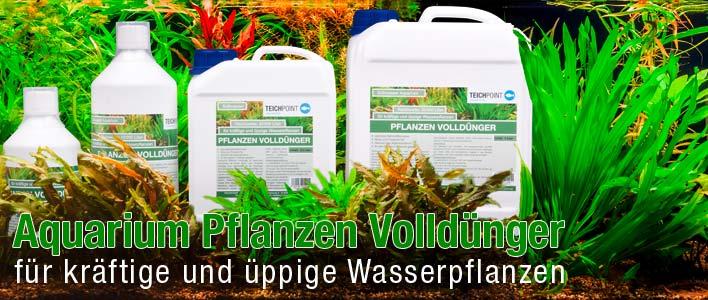 produkt banner aquarium volldünger im hintergrund grüne aquarium pflanzen