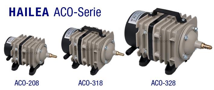 alle drei modelle der aco kompressor serie von hailea