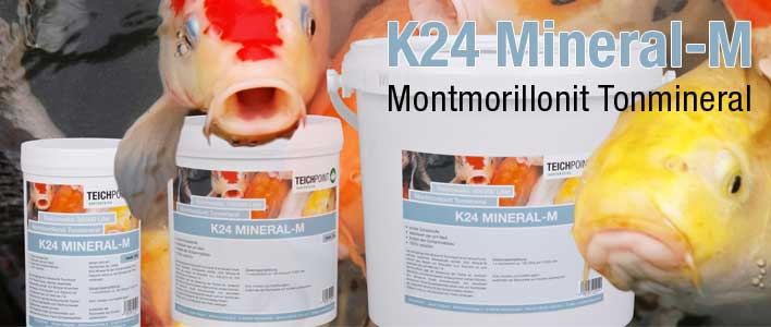 produkt banner k-24 mineral-m im hintergrund koi fische