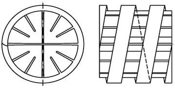 technische Zeichnung des Helix Hel-X 17 Biokörper
