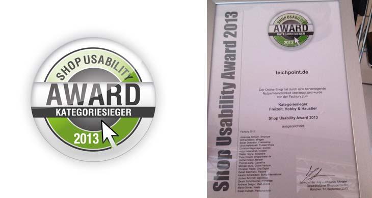 offizielle Urkunde des Shop Usability Awart 2013 an Teichpoint.de