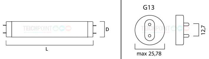 maßzeichnung für leuchtstoffröhren mit sockel G13 T8