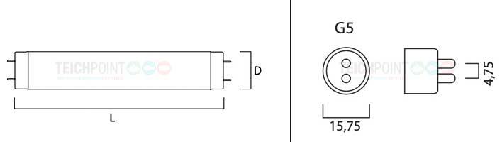 maßzeichnung für leuchtstoffröhren mit sockel G5 T5