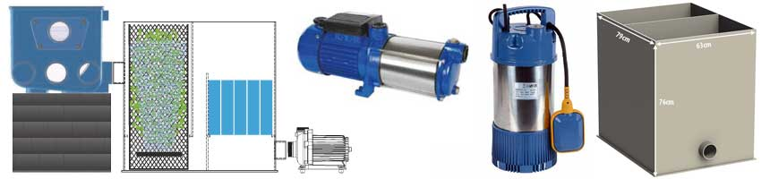 Zubehörartikel für den Trommelfilter ATF-1, Bio-Kammer, Spühlpumpe M80, Hochdruckpumpe und eine Infografik zum Betrieb des Filters mit der Biokammer