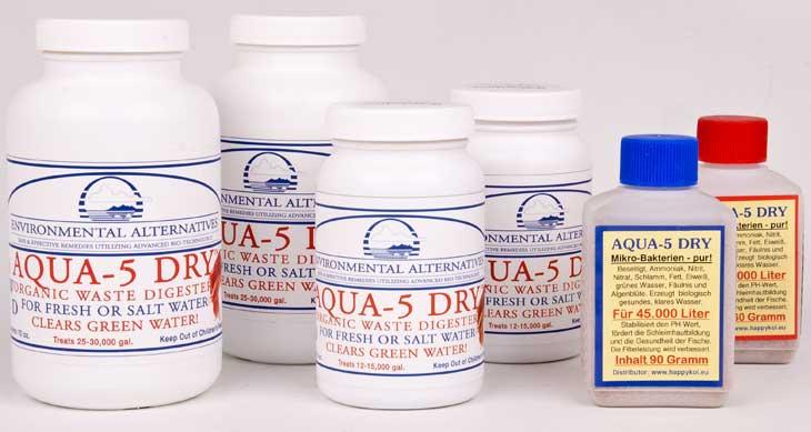 das komplette Produktsortiment von Aqua 5 Dry Teichbakterien
