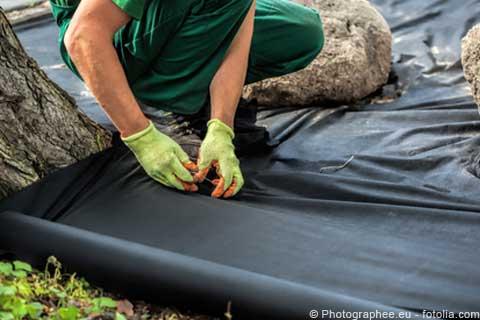 arbeiter verlegt das schwarze bodengewebe unterhalb eines baums
