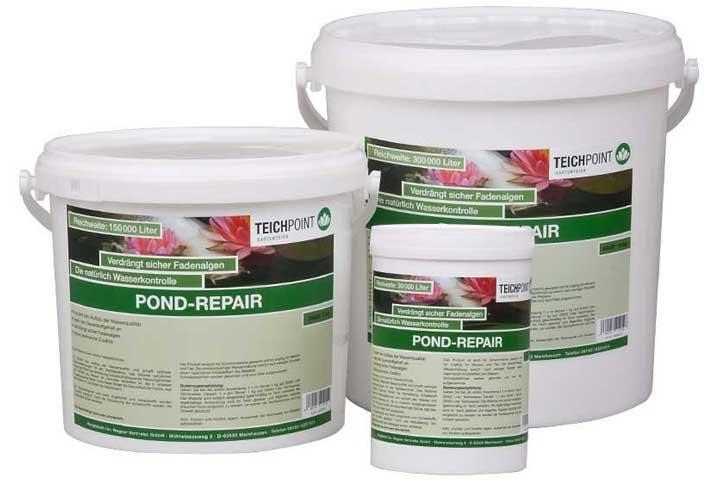 drei gebindegrößen pond-repair, 1kg, 5kg und 10kg im eimer
