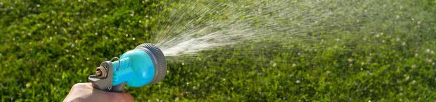 Die Gartenspritze versorgt den grünen Rasen mit ausreichend Wasser